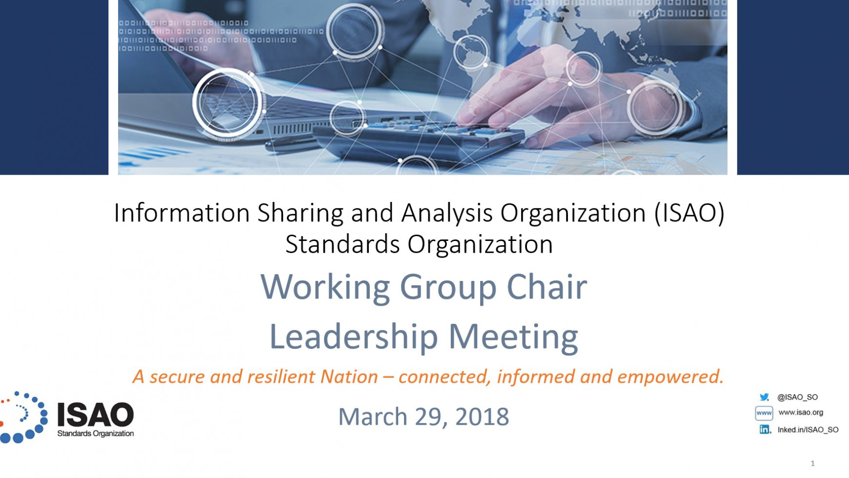 ISAO SO Working Group Leadership Meeting Recap