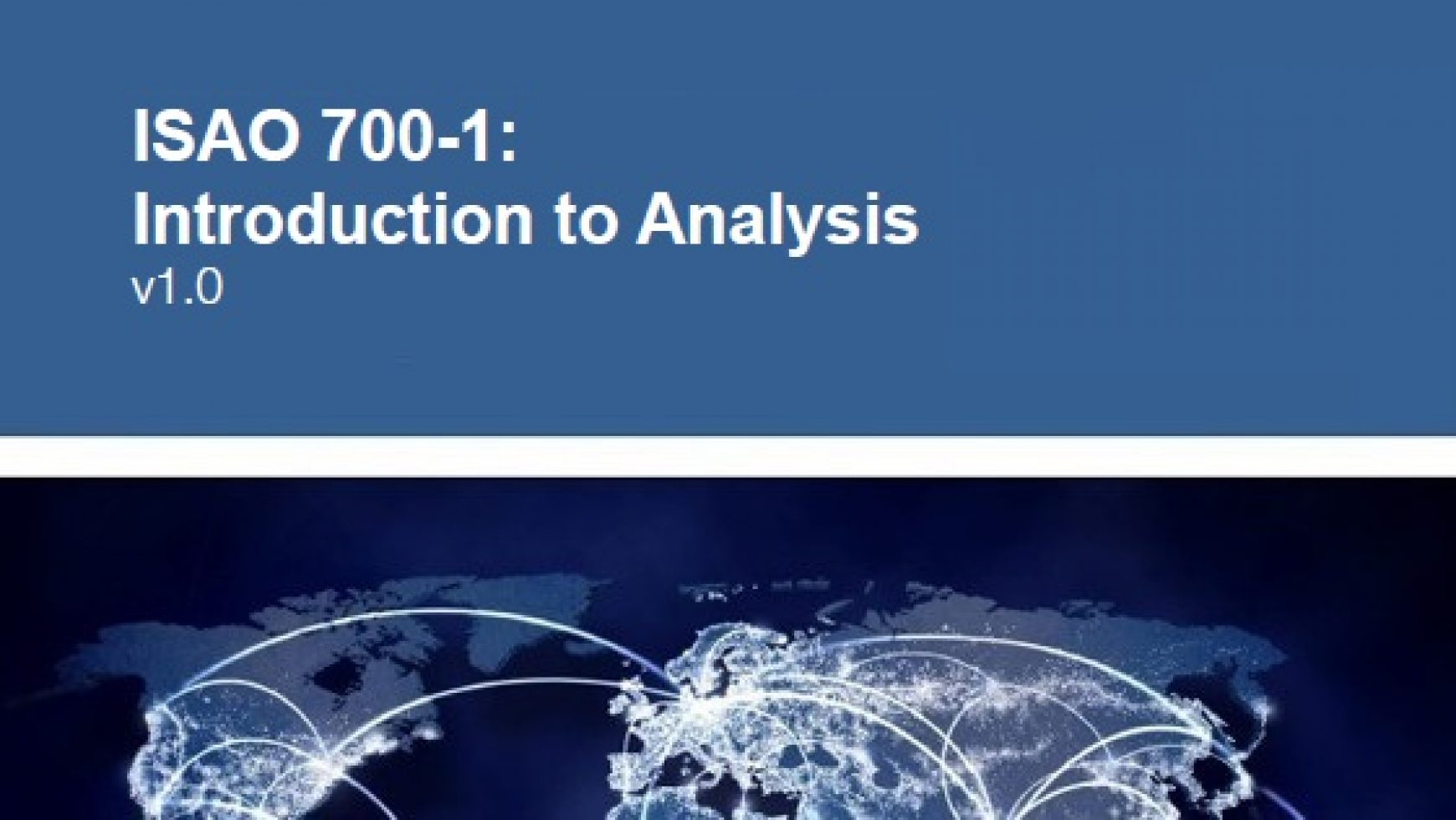 ISAO 700-1: Introduction to Analysis